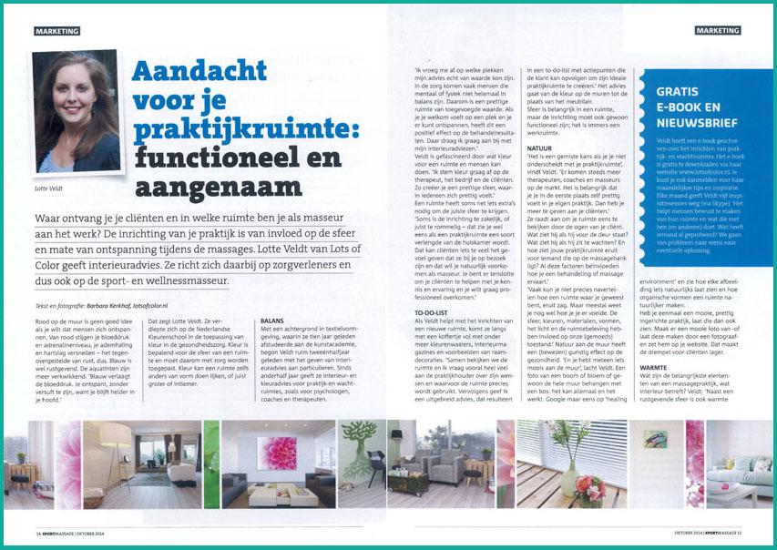 Foto - Interview Lotte Veldt Praktijkinrichting - Vakblad voor Sport- en wellnessmassage
